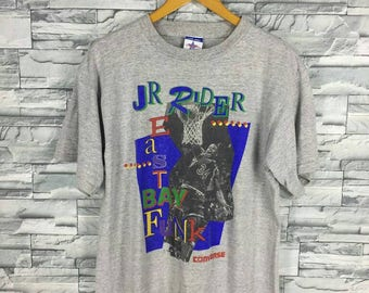 CONVERSE ALL STAR T shirt Large Jr. Rider Lakers Basketball Nba Vintage Isaiah Rider Los Angeles Basketball Dunk Gray Tshirt Size L
