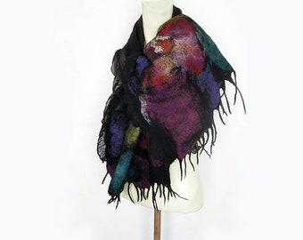 Nuno Felt Wrap Scarf, Silk and Wool Shawl, Ruffle Black Scarf, Floral Spring Scarf Shawl, Spring Gift For Mom, InspirationalArt Cloth