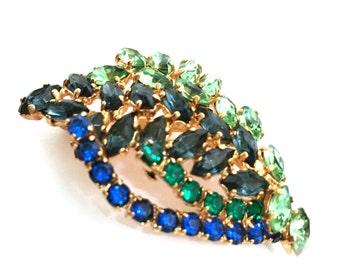 Shades of Blue and Green Rhinestone Brooch