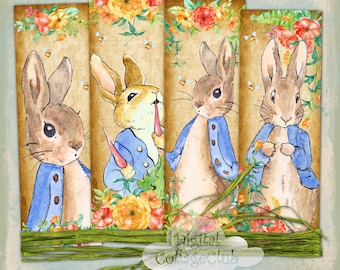 Peter Rabbit Digital Collage Sheet Images for Bookmark, Cardmaking, Journaling, Decoupage, Tags, Labels, Paper Craft