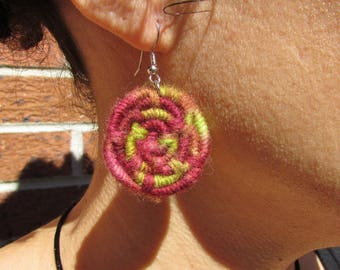 Earthy Mauve & Lime Green Coiled Jute Fiber Earrings - Button Shaped, Made with Textured Multi-Color Yarn