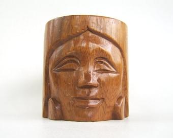 Vintage Mug, Carved Wood Mug, Lady Face Mug, Pencil Holder, Wooden Mug, Vintage Face Mug, Carved Face Mug, Brown Mug, Vintage Lady Mug