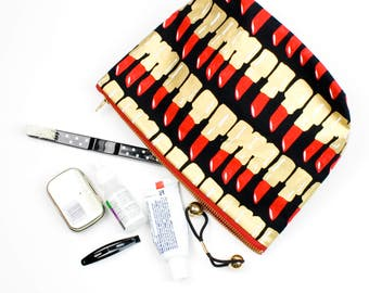 Medium Size Make Up Bag Lipstick Print Cosmetics Case Red Black Gold Make up Bags BFF Gifts
