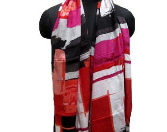 Multicolored scarf/ fashion scarf/ gift scarf/ cotton  scarf/ abstract print/ tassel scarf/ gift ideas/ for her.
