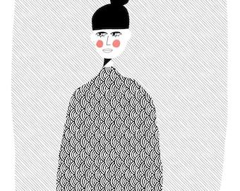 Girl with bun -  wall art print