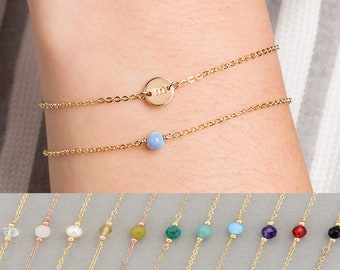 Tiny Initial Disc Bracelet & Gemstone Layered Gift Set of 2, Gold, Silver, Rose Gold, Personalized Bracelet, Initial Disc Bracelet