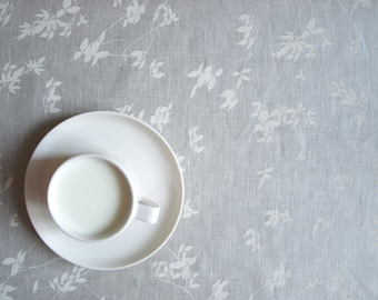 """Linen tablecloth natural beige grey linen white ivory leaves 37""""x37"""" or made to order your size, great GIFT"""