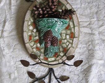Pinecone Mosaic China Vase Wall Plaque