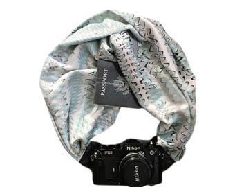 Blue Waves Camera Strap with Lens Pocket -  The Original Camera Scarf Strap With Hidden Pocket