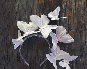 Iridescent White Butterfly Crown, White Butterfly Headpiece, Fascinator, Headband, Headdress, Wedding, Tiara