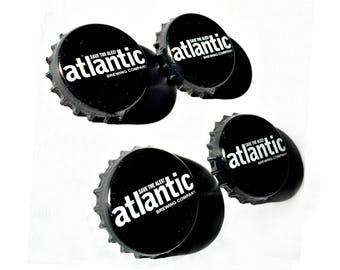 Craft Beer Magnet Set, The Atlantic Brewery Magnets, Maine Beer Bottle Top Magnets, Set of Four, File Cabinet Magnet, Refridgerator Magnets
