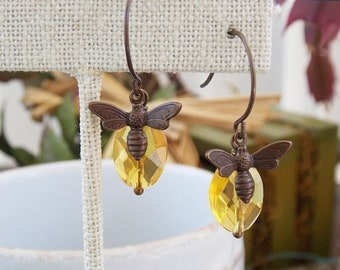 On Sale Brass Honey Bee and Amber Glass Drop Earrings Honey Bee Earrings Honey Bee Jewelry Amber Glass Dangle Earrings Amber Jewelry