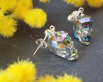 Swarovski Crystal Scull Earrings on Sterling Silver Earring Posts
