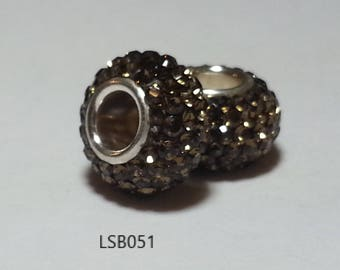 2pcs 925 Sterling Silver Pave Beads made with Swarovski Crystal Elements Fits Authentic Pandora and European bracelets 100+ colors Available