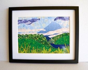 Fabric landscape print, mountain art, NZ bush ferns, fibre art,