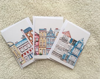 Greeting Card Set, value pack, European Houses, pack of 3, any occasion, gift cards, blank cards, with envelope, printed on recycled paper,