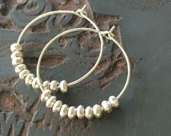 Wicker Park Bright .925 Sterling Silver Hoops with Sterling Silver Thai Beads
