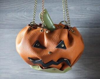 Leather pumpkin purse halloween bag halloween costume