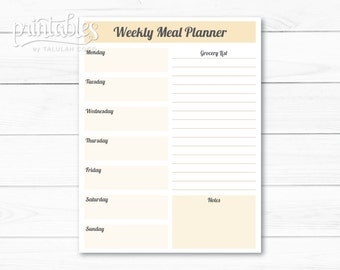 weekly meal planner printable menu planner with shopping list meal planner editable pdf