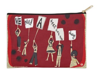 Zippered Pouch - We Need A Free Press- Ceci Bowman Designs