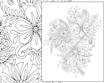 Floral Coloring Page Adult Digital Flower Drawing Henna Botanical Colouring Sheet