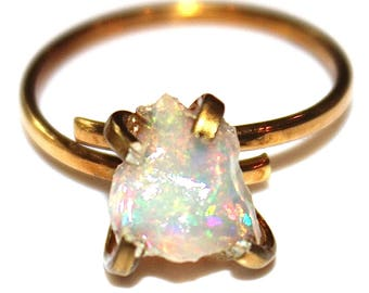 Rustic Opal Ring Natural Opal Jewelry Opal Nugget Ethiopian Opal  Fire Opal Ring Raw Opal Ring Artisan Jewelry Fire Opal Welo Opal Ring