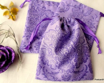 50 Mercerized Cotton Gift Jewelry Gift Pouches Purple Cotton Pouches with Flowers Print 4 x 5 inches
