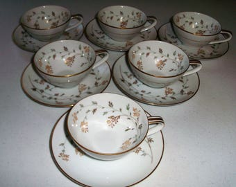 Noritake Florence Set Of Six Cups & Saucers