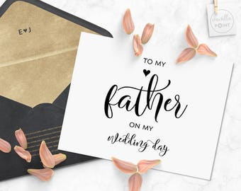 To My Father On My Wedding Day Card, Father Of The Bride Gift, Father Of The Groom Gift, Father Wedding Gift, Father Wedding Card Printable