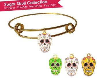 Sugar Skull Bracelet- Sugar Skull Jewelry- Sugar Skulls Bracelet- Calavera Jewelry- Calavera Bracelet- Dia De Los Muertos Jewelry