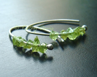 Silver Hoop Earrings Small Green Peridot Sterling Open Hoops Birthstone jewelry gift, raw peridot Mothers Day gift, Mom gift, Wife gift