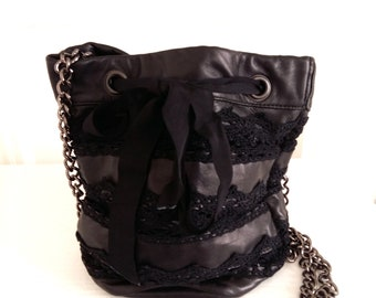 Black Lace and soft bucket bag / black leather and lace bucket bag