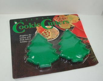 Vintage Cookie Cutters, Embossed Christmas Trees, Green, Plastic, Set of Two, New Old Stock  (9788)