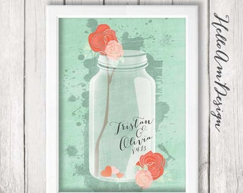 Wedding Guest Book -mason jar - wedding mint -mint green - Guest Book Print -Wedding Art Print - Guest Book alternative - Wedding Guest Book