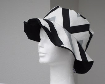 summer hat, Sun Hat, beach hat, wedding #pour woman Hat #en black white and grey #linevacréations #agréable cotton