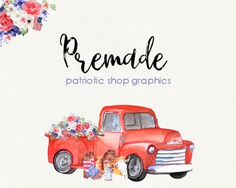 Premade Patriotic Truck Shop Graphics, Watercolor, July 4th, Memorial Day Facebook, Etsy Set, Etsy Cover