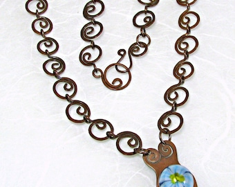 Blue Flower Goddess Lampwork Necklace