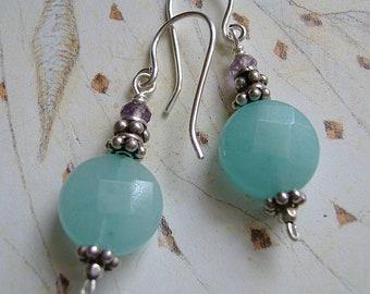 Blue Earrings, Amazonite Earrings, Faceted Gemstone Earrings, Drop Earrings, Silver Earrings, Dangle Earrings, Boho Earrings, Free Shipping