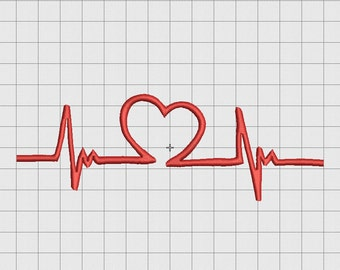 Heartbeat EKG ECG Embroidery Design in 3x3 4x4 and 5x7 Sizes