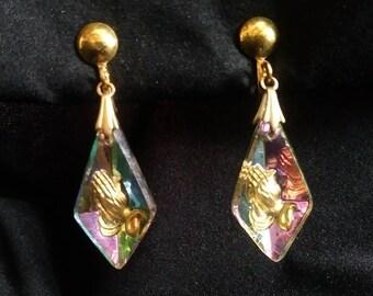Vintage crystal drop earrings, costume jewelry, praying hands, rainbow