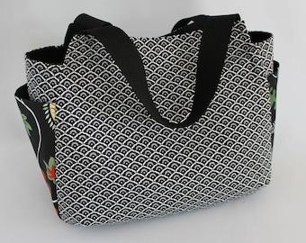 bag bag black rococo style tulip fabric
