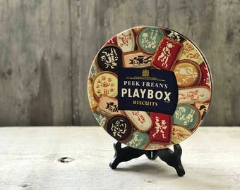 Vintage Peek Frean's Playbox Biscuits Tin 1950's Made in England