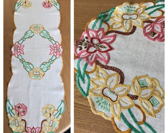 Vintage Embroidered Oatmeal Linen Table Runner, Multicoloured Floral