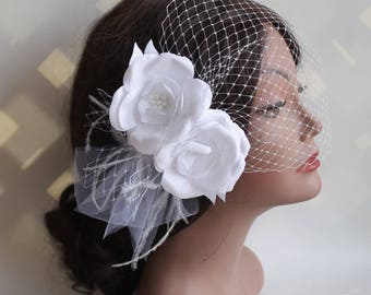 Birdcage Bandeau Veil, Wedding Flower Birdcage Veil and Fascinator, Head Piece, Wedding Accessories, Ostrich Feathers and Rhinestone Brooch