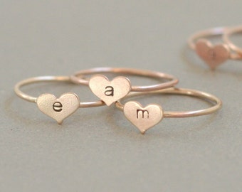 Valentine's Day heart ring. personalized ROSE gold ring. initial ring. heart ring. hand stamped letter. custom initial jewelry. gift for her