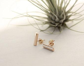 Gold Bar Stud Earring,  14K Gold Filled, Half Round Bar, 10x3mm(Medium)