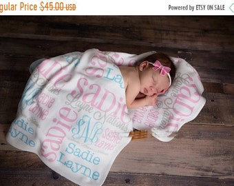 Spring SALE Personalized Baby Blanket Monogrammed Baby Blanket Name Blanket Swaddle Receiving Blanket Baby Shower Gift Photo Prop Birth Anno