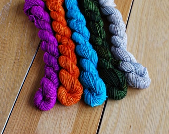Woodland, Mini Skein Set, Hand Dyed Yarn, SW Sock