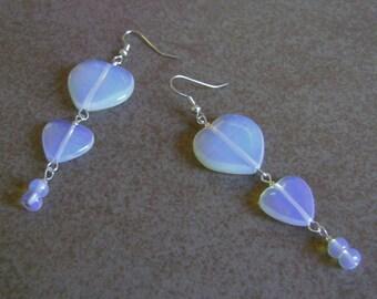 Opalite Stone Heart Beaded Silver Layered Charm Earrings