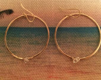 Gold filled hoops with herkimer diamond